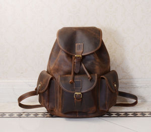 Classic Vintage Look Genuine Leather Backpack - women's accessories