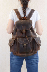 Classic Vintage Look Genuine Leather Backpack - bags