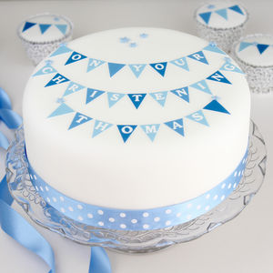 Boys Christening Cake Decorating Kit With Bunting - cake decoration