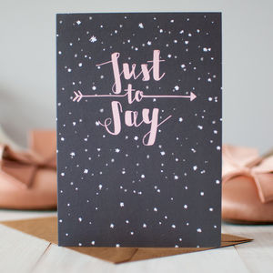 'Just To Say' Stars Design Greeting Card - announcement cards
