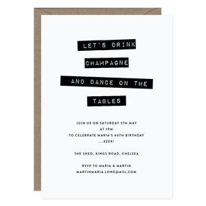 Drink Champagne Personalised Party Invitation - adults party invitations