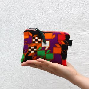 Reclaimed Abstract Suede Back Zip Pouch