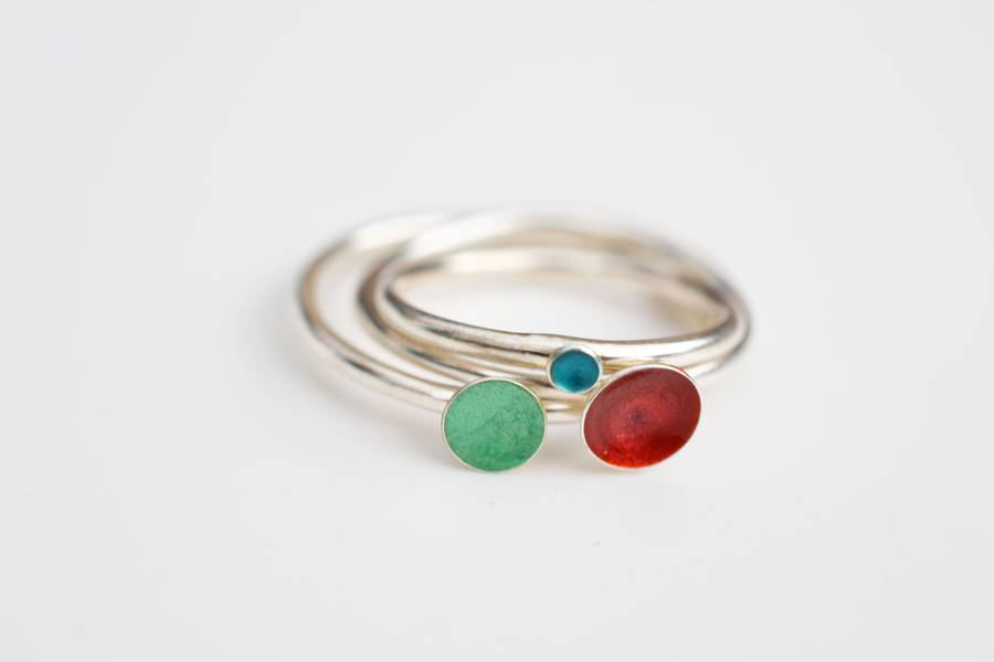 enamel kate stacking rings kateholdsworthdesigns original product holdsworth by designs silver
