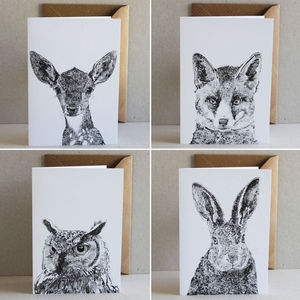 Set Of Four Woodland Animals Cards