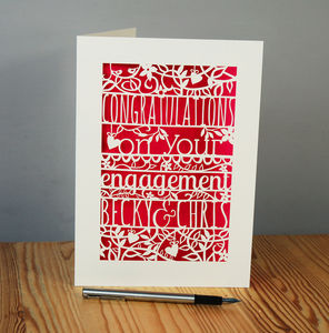 Personalised Papercut Floral Engagement Card
