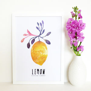 Watercolour Lemon Art Print - food & drink prints