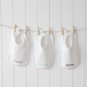 Personalised White Bibs Three Pack