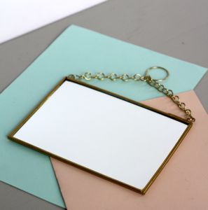 Small Rectangular Shaped Brass Mirror - mirrors