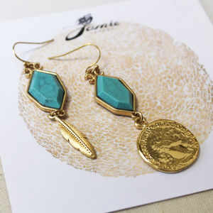 Gold And Silver Coin And Feather Turquoise Earrings - fashion jewellery