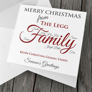 Personalised Family Christmas Card Pack