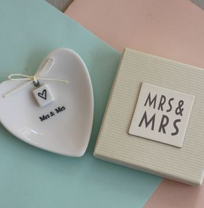 'Mrs And Mrs' Ceramic Ring Dish - wedding ring pillows