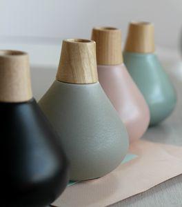 Black Vase With Ash Wood Neck - vases