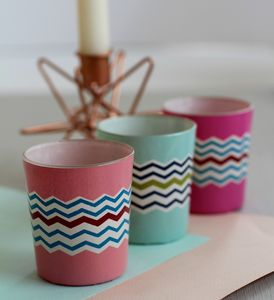 Set Of Three Pastel Zig Zag Votives - home accessories