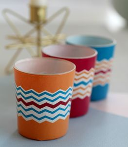 Set Of Three Bright Zig Zag Votives