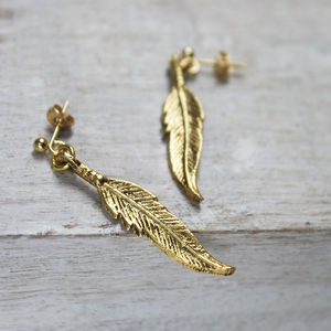 Feather Charm Earrings - lucky charm jewellery