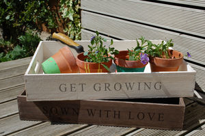 Personalised Wooden Crate Planter Tray - office & study