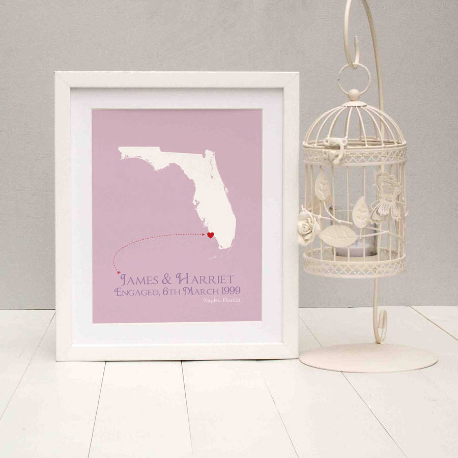 Engaged In Florida Personalised Print