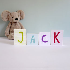 New Baby Gift, Colourful Wooden Name Blocks - decorative letters