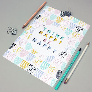 'Think Happy Be Happy' Typography Print