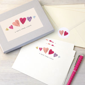 Personalised Hearts Writing Set