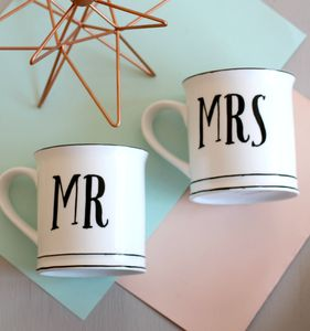Mr And Mrs Vintage Style Ceramic Mugs - kitchen