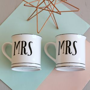 Mr And Mrs Vintage Style Ceramic Mugs With Card - camping