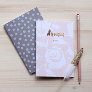 'Dream Big' Set Of Two Luxury Notebooks
