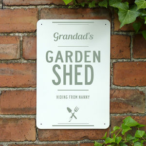 Personalised Grandads Garden Shed Metal Sign - art & decorations