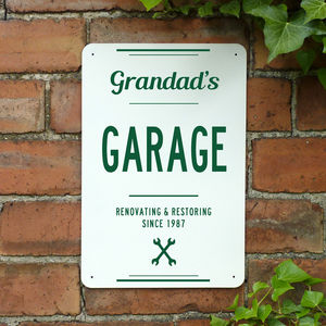 Personalised Grandads Garage Metal Sign - art & decorations