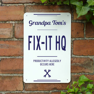 Personalised Grandads Fix It Hq Metal Sign