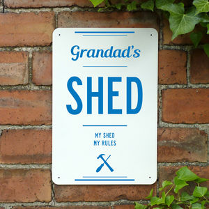 Personalised Grandads Shed Metal Sign - art & decorations