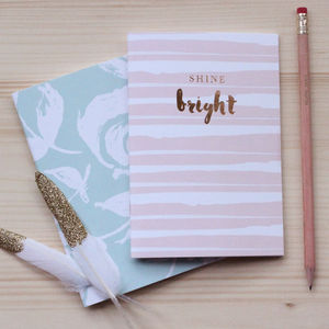 'Shine Bright' Set Of Two Luxury Notebooks