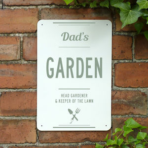 Personalised Dads Garden Metal Sign - gifts for fathers