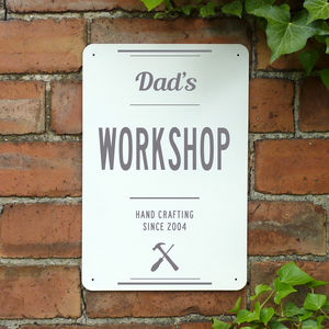 Personalised Dads Workshop Metal Sign - art & decorations