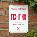 Personalised Dads Fix It Hq Metal Sign