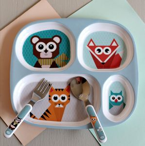 Children's Blue Forest Animal Plate With Sections