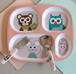 Children's Pink Forest Animal Compartment Plate