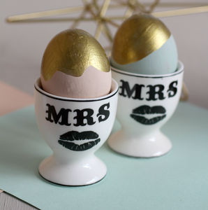Mrs And Mrs Ceramic Egg Cups - egg cups & cosies