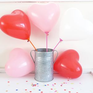 Pack Of Ten Heart Balloons