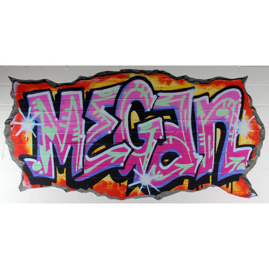 personalised pink graffiti wall stickers by nest personalised blue graffiti wall stickers by nest