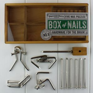 Box Of Nails Set Of Five Nail Puzzles - toys & games