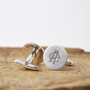 Personalised Silver Monogram Hidden Message Cufflinks - men's style