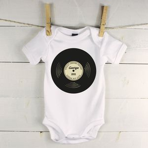 'Totally Awesome Records' Personalised Babygrow - clothing