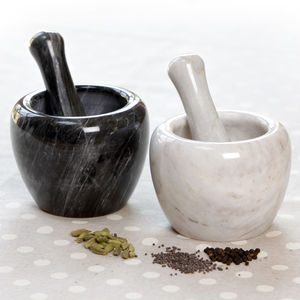 Marble Curved Pestle And Mortar - kitchen accessories