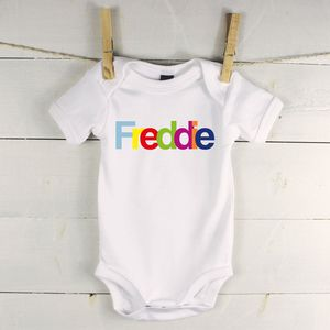Multicoloured Personalised Babygrow - gifts for babies