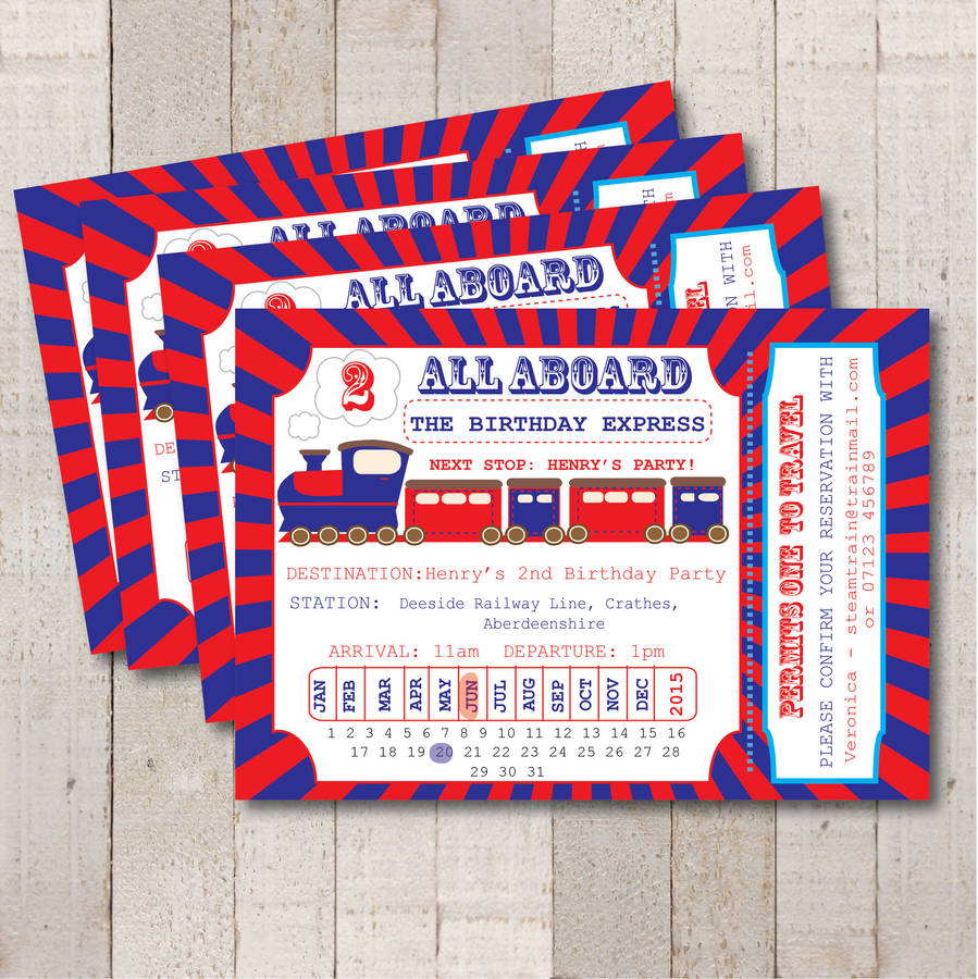 steam train ticket party invitation by rock, paper, stars ...