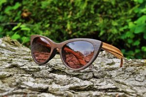 Cats Eye Wooden Sunglasses Personalised