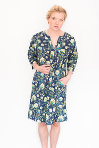 Kaftan Florence Nightdress In French Fleurs Navy - lingerie & nightwear