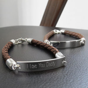 Mens Sterling Silver And Leather ID Bracelet