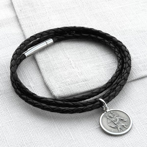 Plaited Leather And Silver St Christopher Wrap Bracelet